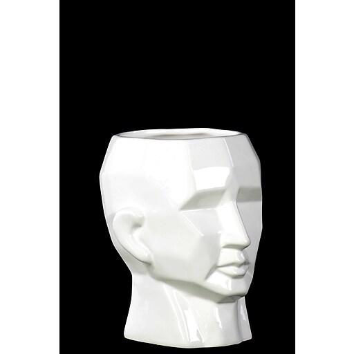 "Urban Trends Ceramic Head Vase, 6"" x 6.25"" x 6.5"", White (28555)"