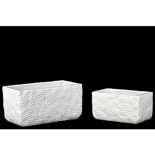 "Urban Trends Ceramic Pot, 9.75"" x 4.75"" x 5"", White (28591)"