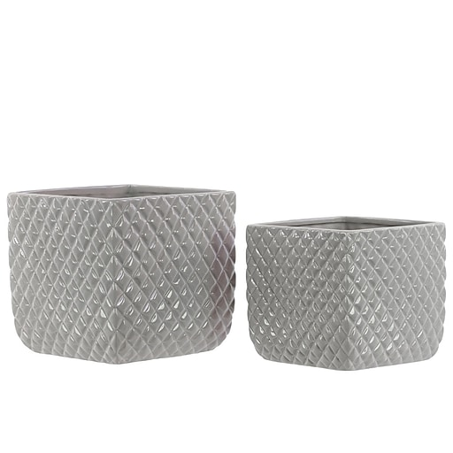 "Urban Trends Ceramic Pot, 6.5"" x 6.5"" x 6.25"", Gray (28606)"