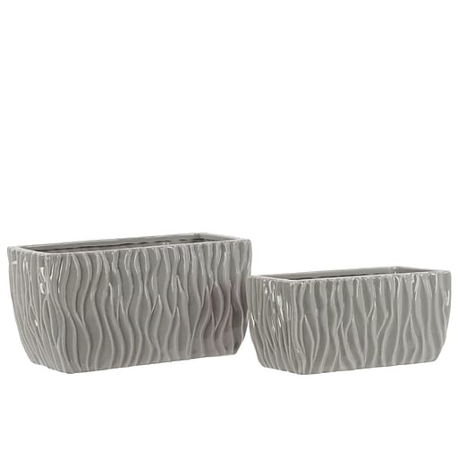 "Urban Trends Ceramic Pot, 9.75"" x 4.75"" x 5"", Gray (28608)"