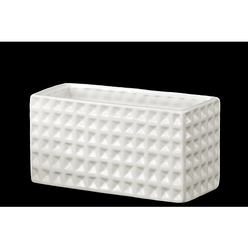 "Urban Trends Ceramic Vase, 9.25""L x 3.5""W x 4.75""H, White (28808)"