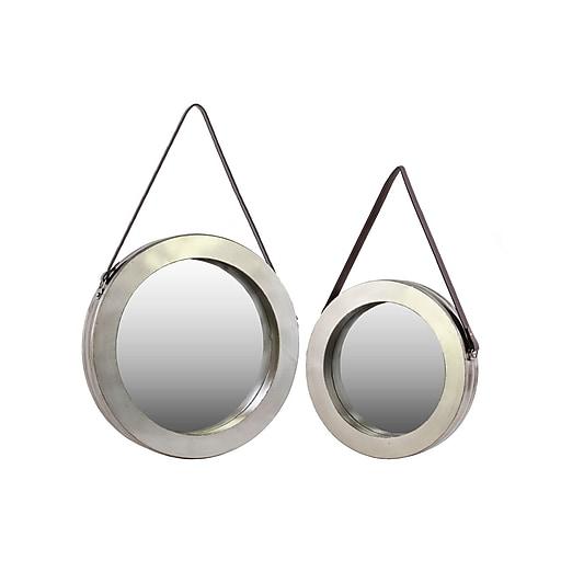 """Urban Trends Metal Mirror, 24""""L x 4""""W x 24""""H, Silver, 2/Set (30828)"""