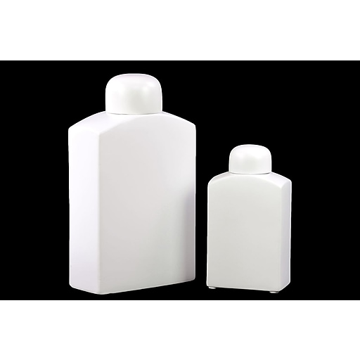 "Urban Trends Ceramic Canister, 7.25"" x 3.25"" x 13"", White (30940)"