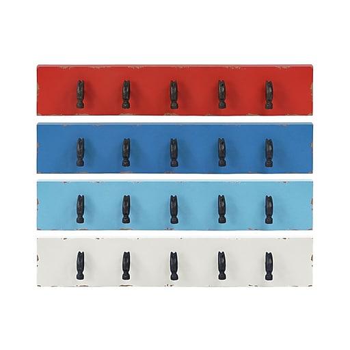 "Urban Trends Wood Hanger, 28""L x 4""W x 5""H, White, Blue, 4/Set (31509-AST)"