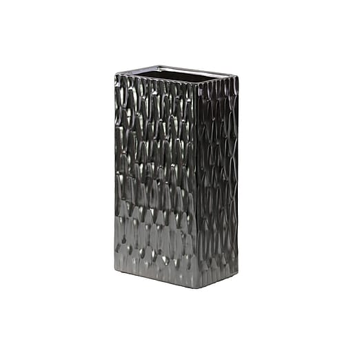 "Urban Trends Ceramic Vase, 6""L x 4.25""W x 12""H, Black, Silver (31705)"