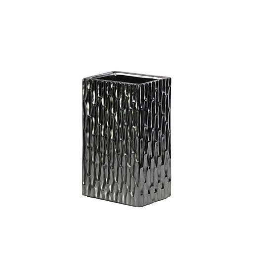 """Urban Trends Ceramic Vase, 6"""" x 4.25"""" x 10"""", Black, Silver (31706)"""