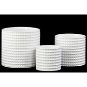 "Urban Trends Ceramic Pot, 4""L x 4""W x 3.5""H, White, 3/Set (31800)"