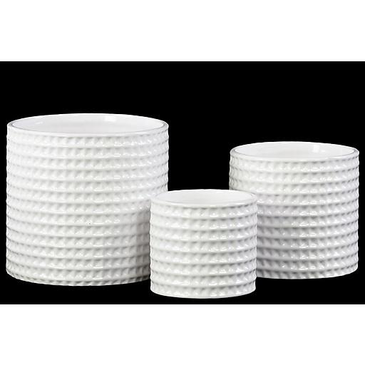 "Urban Trends Ceramic Pot, 4""L x 4""W x 3.5""H, White, 3/Set (31800)"