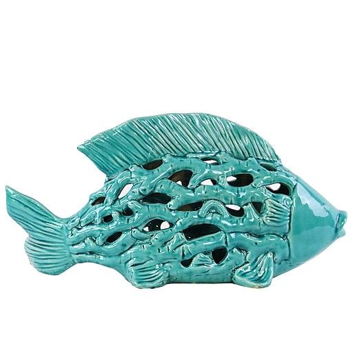 "Urban Trends Ceramic Figurine, 16.5""L x 6.75""W x 8.5""H, Turquoise (32606)"