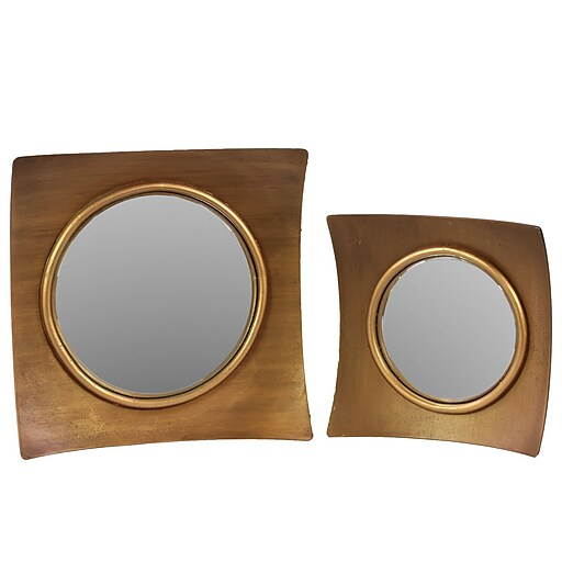 """Urban Trends Wood Mirror, 15.5"""" x 2.5"""" x 15.5"""", Gold, 2/SET (33067)"""