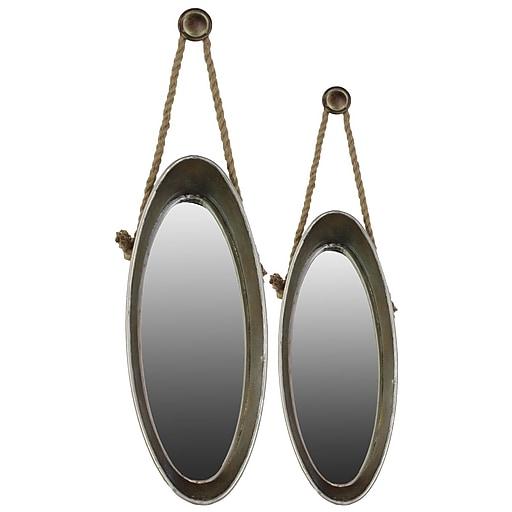 "Urban Trends Metal Mirror, 13.75"" x 34.75"" x 7"", Gray, 2/SET (33095)"