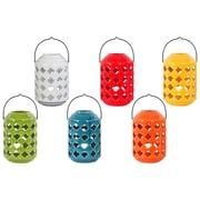 "Urban Trends Ceramic Lantern, 5""L x 7.5""W x 5""H White, Red, Orange, Yellow, Green, Blue, 6/Set (34431-AST)"