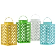 "Urban Trends Metal Lantern, 6""L x 6""W x 12""H, White, Yellow, Green, Blue, 4/Set (34600-AST)"