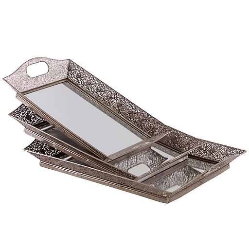 "Urban Trends Metal Tray, 21.25""L x 13.75""W x 3.25""H, Silver (35082)"