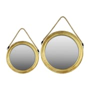 "Urban Trends Wood Mirror, 21.25""L x 1.25""W x 20""H, Gold, 2/Set (37043)"