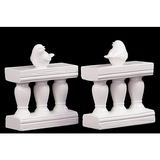 "Urban Trends Ceramic Bookend, 6.5"" x 3"" x 8"", White (# 40031)"