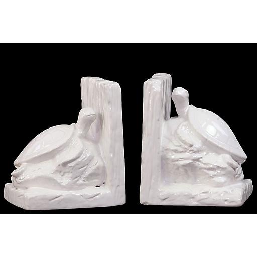 """Urban Trends Ceramic Bookend, 6""""L x 4.5""""W x 6.5""""H, White (40046)"""