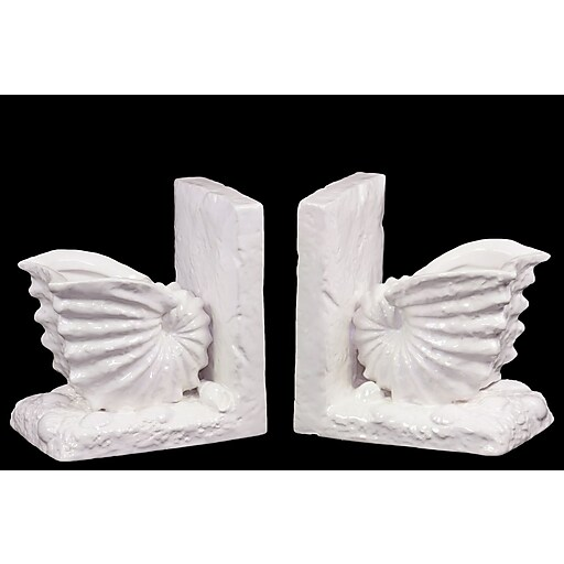 "Urban Trends Ceramic Bookend, 6"" x 4.5"" x 6.5"", White (# 40050)"