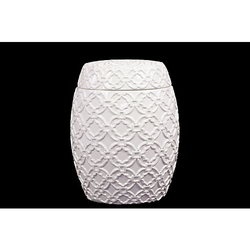 "Urban Trends Ceramic Canister, 8.5"" x 8.5"" x 11"", White (40060)"