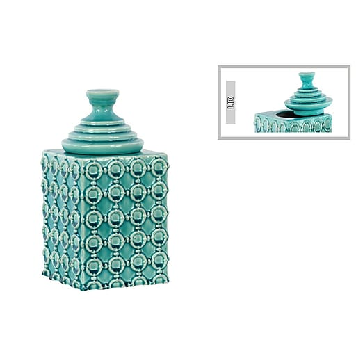 """Urban Trends Ceramic Canister, 6"""" x 6"""" x 11.25"""", Turquoise (40078)"""