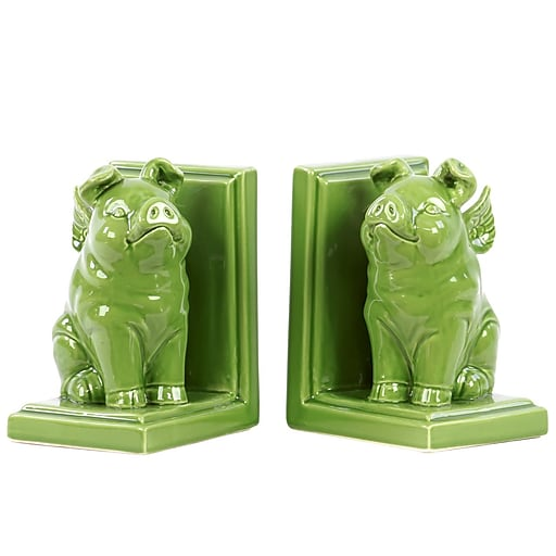 "Urban Trends Ceramic Bookend, 5.25""L x 4.25""W x 7""H, Green (40085)"