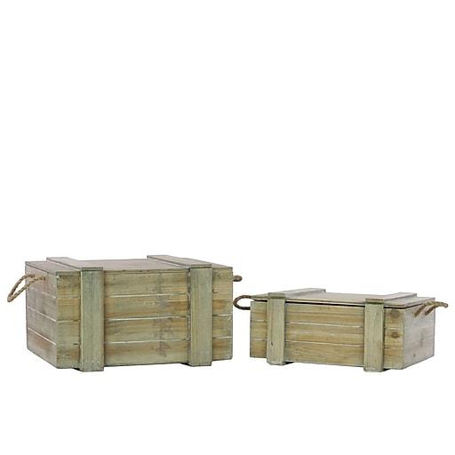 "Urban Trends Wood Storage, 18.5"" x 14.5"" x 10"", Brown, 2/SET (40161)"
