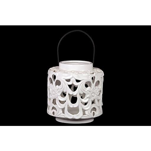 "Urban Trends Ceramic Lantern; 8""L x 8""W x 8.5""H, White (40400)"