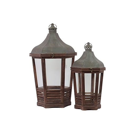 "Urban Trends Wood Lantern with Cast Iron Top; 15"" x 13.25"" x 28.75"", Brown (46011)"