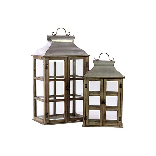 "Urban Trends Wood Lantern, 12"" x 9.5"" x 26.75"", Brown, 2/SET (46018)"