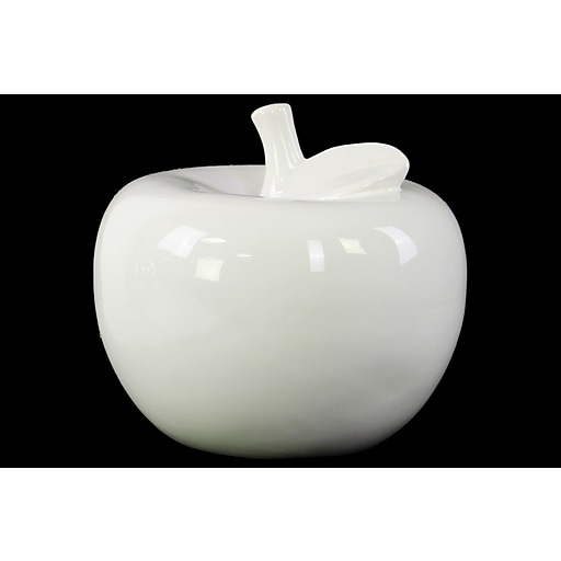 "Urban Trends Ceramic Apple Figurine, 6.5"" x 6.5"" x 6"", White (46762)"