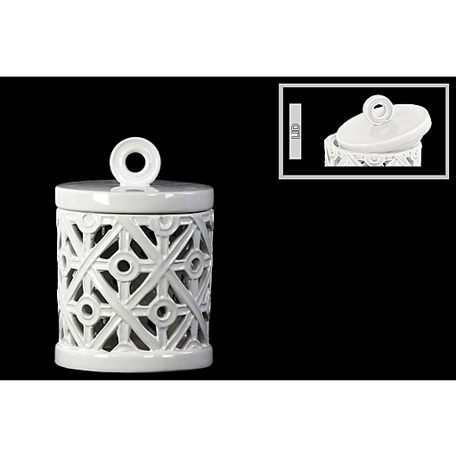 "Urban Trends Ceramic Canister, 6.5""L x 6.5""W x 9.5""H, White (50012)"