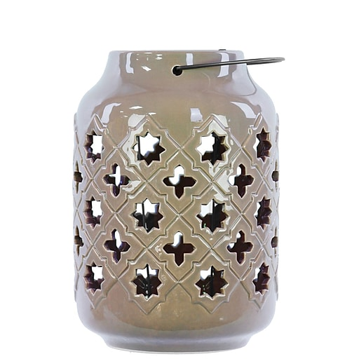 "Urban Trends Ceramic Lantern; 7""L x 7""W x 11""H, Brown (50019)"