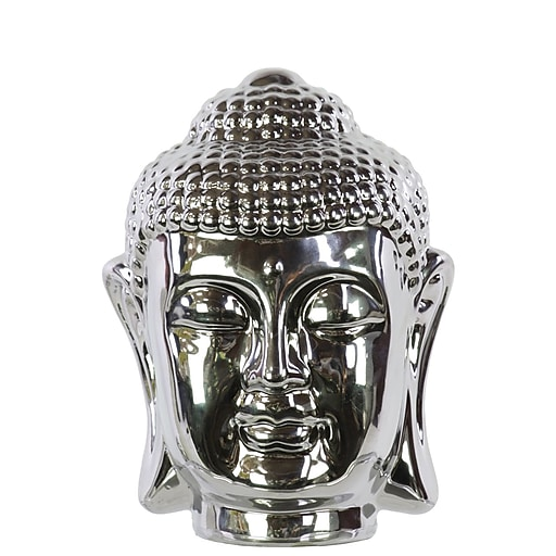 "Urban Trends Ceramic Head, 5.5"" x 6"" x 8"", Silver (50519)"