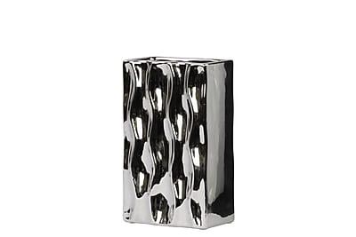 Urban Trends Ceramic Vase , 5.75 x 3 x 9.75 Silver (# 50531)