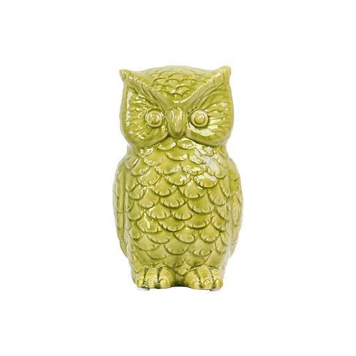 "Urban Trends Ceramic Owl Figurine, 5"" x 5.5"" x 9"", Green (50545)"