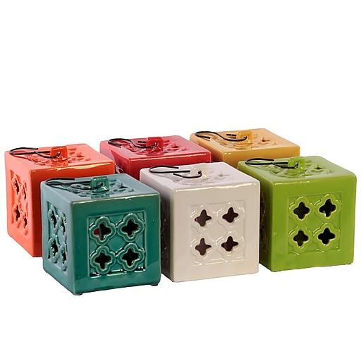 "Urban Trends Ceramic Lantern; 5.25""x5.25""x5.25"", White, Red, Orange, Yellow, Green, Blue (50861AST)"