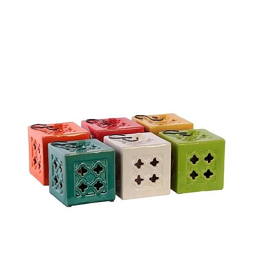 "Urban Trends Ceramic Lantern; 4.25""x4.25""x4.25"" White/Red/Orange/Yellow/Green/Blue/6set (50862-AST)"