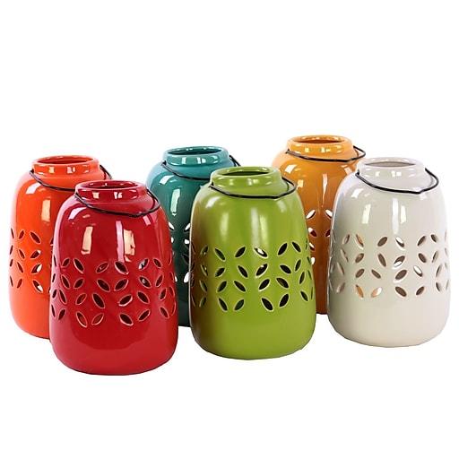 "Urban Trends Ceramic Lantern; 4.5""x4.5""x7.75"" White/Red/Orange/Yellow/Green/Blue/6set (50866-AST)"