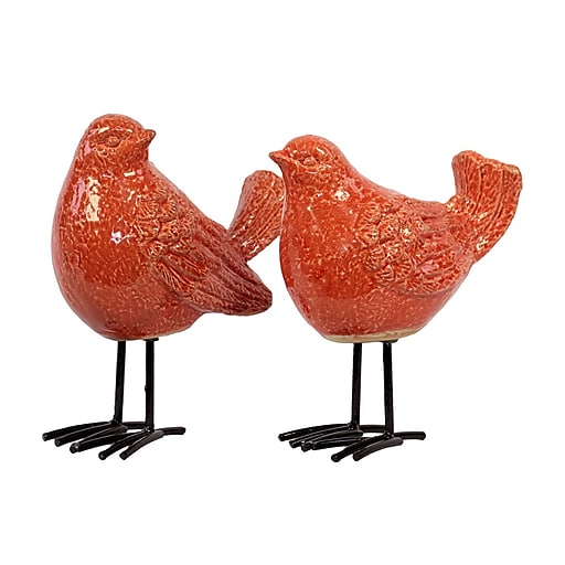 "Urban Trends Ceramic Figurine, 7"" x 4"" x 8.5"", Orange, 2/Set (# 50876-AST)"