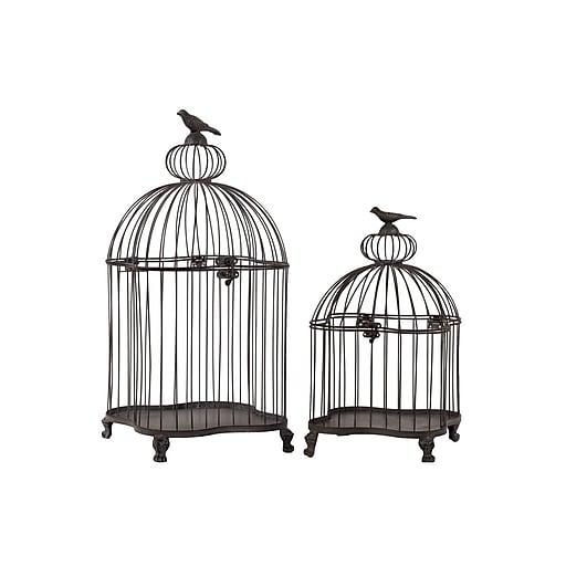 "Urban Trends Metal Bird Cage, 10.65""L x 10.65""W x 22.85""H, Gray, 2/Set (60125)"