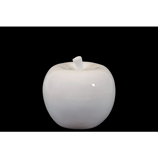 "Urban Trends Ceramic Apple Figurine, 6.5"" x 6.5"" x 6.5"", White (70513)"