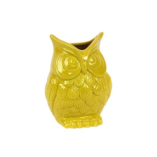 "Urban Trends Ceramic Vase, 5.5""L x 4""W x 6.5""H, Yellow (73078)"