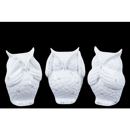 "Urban Trends Ceramic Figurine, 4.5""L x 4""W x 6.5""H, White, 3/Set (73146-AST)"
