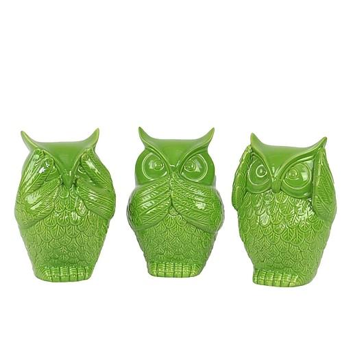 "Urban Trends Ceramic Figurine, 4.5""L x 4""W x 6.5""H, Green, 3/Set (73147-AST)"