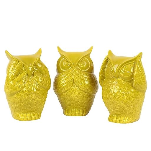 "Urban Trends Ceramic Figurine, 4.5"" x 4"" x 6.5"", Yellow, 3/SET (73148-AST)"