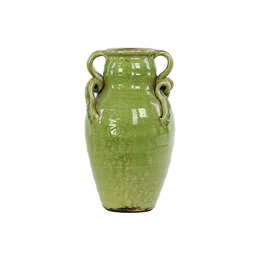 "Urban Trends Ceramic Vase, 8""L x 8""W x 14""H, Green (76042)"