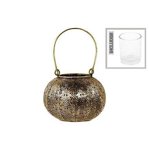 "Urban Trends Metal Candle Holder Lantern, 5""L x 5""W x 4.5""H, Gold (94173)"