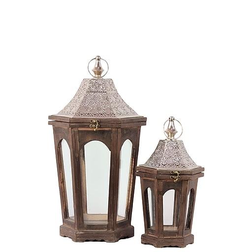 "Urban Trends Wood Lantern; 12"" x 10.5"" x 22.5"", Brown (# 94612)"