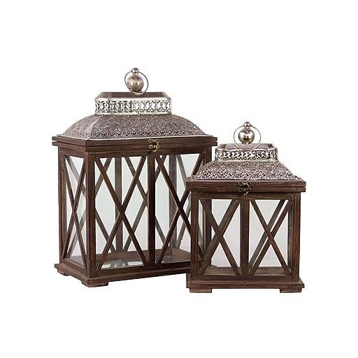 "Urban Trends Wood Lantern; 14""L x 9""W x 20.5""H, Silver, Brown, 2/Set (94614)"