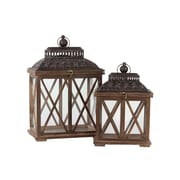 "Urban Trends Wood Lantern, 14""L x 9""W x 20.5""H, Black, Brown, 2/Set (94618)"